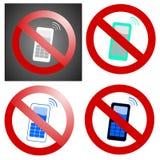 запрещенные мобильные телефоны Стоковое Фото