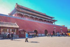 Запрещенный дворец с Unacquainted китайским народом или touristin на столице Пекин фарфора стоковое фото