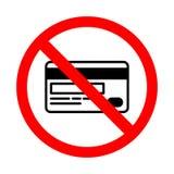 Запрещенный значок кредитной карточки Яркое предупреждение, знак ограничения на белой предпосылке иллюстрация штока