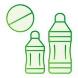 Запрещенный пластиковый плоский значок Значки пластикового запрета б иллюстрация вектора