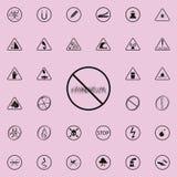 запрещен знак идти на значок лужайки Комплект значков предупредительных знаков всеобщий для сети и черни иллюстрация штока