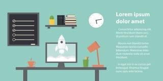 запуск Рабочее место в домашней комнате Стильный и старый интерьер качество Стоковая Фотография