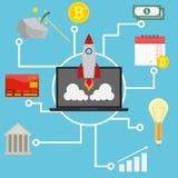 Запуск, startup концепция Концепция зарабатывать деньги на интернете Ракета принимает от компьтер-книжки Заработок секретного иллюстрация вектора