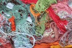 Запутанные потоки Needlework Стоковые Фото