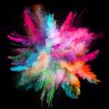 Запущенный красочный порошок на черной предпосылке Стоковые Фото
