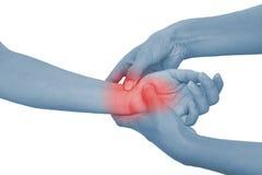 запястье руки женщины акутовой боли Стоковая Фотография