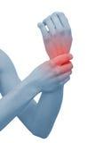 запястье руки женщины акутовой боли Стоковое Фото