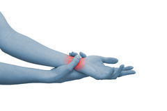 запястье руки женщины акутовой боли стоковые фото