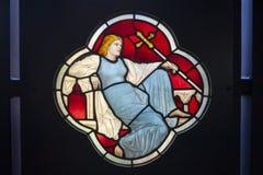Запятнанное и покрашенное стекло показанное на музее Виктории и Альберта Стоковое Изображение