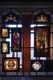 Запятнанное и покрашенное стекло показанное на музее Виктории и Альберта Стоковые Изображения RF