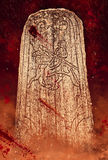 Запятнанный кровью камень rune Стоковое Изображение