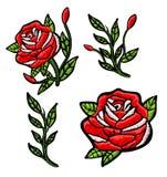 Заплата вышивки красных роз Стоковые Изображения RF