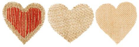 Заплата дерюги формы сердца, объект мешковины дня валентинки стоковое изображение