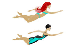 Заплывание женщины Стоковая Фотография