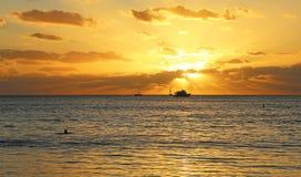 Заплывание захода солнца Стоковое фото RF