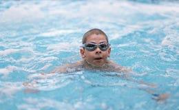 Заплывание мальчика в бассеине Стоковая Фотография RF