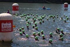 Заплывание спорта тренировки триатлона Triathletes здоровое стоковые фотографии rf