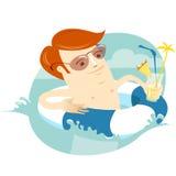 Заплывание человека битника в резиновом кольце с коктеилем Плоское styl Стоковое Изображение RF