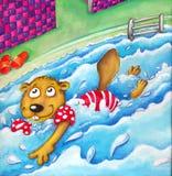Заплывы бобра в бассейне с юмористом подлокотников шуточным конструируют Стоковые Фото