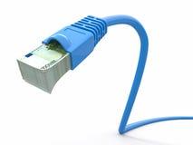 Заработайте деньги он-лайн. Принципиальная схема. Кабель интернета с евро иллюстрация вектора