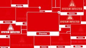 Зараженная системой коробка уведомления ошибки сигнала тревоги предупреждая всплывающая на экране видеоматериал