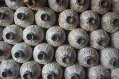 Зараженная сумка гриба в ферме гриба и расти в ферме Стоковое Изображение