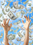 заразительные рук доллары идти дождь дег стоковые фотографии rf
