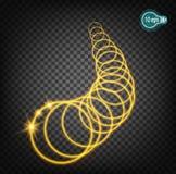 Зарево вектора запряженных частиц Играйте главные роли с пылевоздушной трассировкой сверкная частиц изолированных на прозрачной п Стоковое Фото