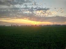 Зарево захода солнца в деревне Пенджаба стоковое фото rf