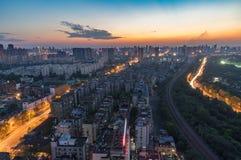 Зарево захода солнца лета в Китае стоковая фотография rf