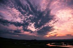 Зарево захода солнца на ноче Стоковые Фотографии RF