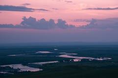 Зарево захода солнца на ноче Стоковые Фото