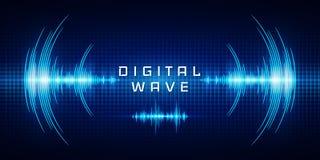 Зарево звуковых войн осциллируя освещает, волна цифров, предпосылка абстрактной технологии - вектор иллюстрация вектора