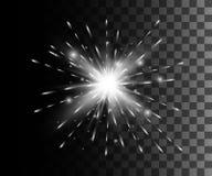 Зарево изолировало белое прозрачное влияние, пирофакел объектива, взрыв, яркий блеск, линию, вспышку солнца, искру и звезды Для t Стоковое Изображение RF
