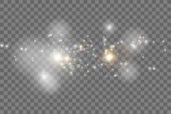 Зарево изолировало белые прозрачные комплект светового эффекта, пирофакел объектива, взрыв, яркий блеск, линию, вспышку солнца, и иллюстрация вектора