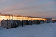 Зарево парников на предпосылке захода солнца Стоковая Фотография RF