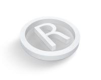 зарегистрированная белизна товарного знака символа Стоковое Фото