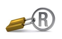 Зарегистрированные знак и padlock Стоковое фото RF