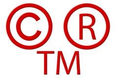 зарегистрированный авторским правом товарный знак символов Стоковое Фото
