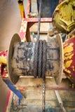 Заржаветое снаряжение лодки веревочки стального провода Стоковое Изображение RF