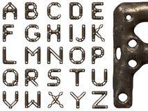 Заржаветый стальной алфавит иллюстрация вектора