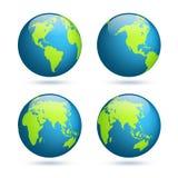 заройте глобус Комплект карты мира Планета с континентами Африка Азия, Австралия, Европа, Северная Америка и Южная Америка бесплатная иллюстрация