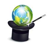 Заройте глобус в изолированных шляпе и палочке волшебства Бесплатная Иллюстрация