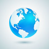 заройте глобус Голубой значок сферы планеты с белой картой Стоковые Фотографии RF
