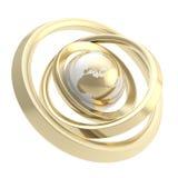 Заройте эмблему глобуса внутри изолированного торуса кольца Стоковые Изображения RF