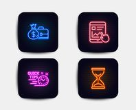 Зарплата, быстрые подсказки и интернет сообщают значки Знак часов времени вектор иллюстрация штока