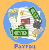 Зарплата, иллюстрация листа фактуры плоская Шаблон зарплаты, высчитывает зарплату, концепции бюджета Современный плоский дизайн Стоковые Изображения