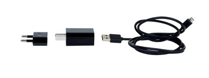 заряжатель Умный кабель заряжателя батареи черноты телефона изолированный на белой предпосылке Концепция аксессуара устройства те Стоковая Фотография