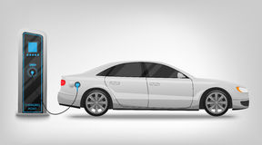 Зарядная станция и знамя электрического автомобиля изолированные на белой предпосылке Стоковые Изображения RF