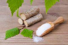 Засахарите заместительский ксилит, ветроуловитель с сахаром березы, liefs и древесину Стоковые Изображения RF
